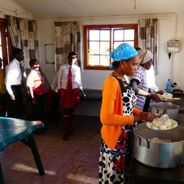 Meal distribution at Silethithemba Halfway House for vulnerable children in Roosboom, KWN, South Africa